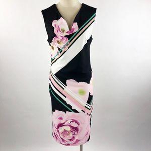 eci Midi Scuba Sheath Dress Black/Pink Floral 8